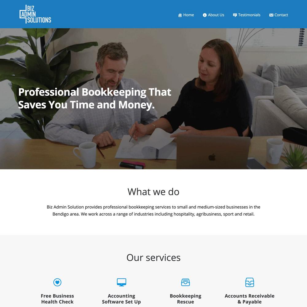 Snapshot of Biz Admin Solutions website, design and content work by Inkt Creative, Bendigo