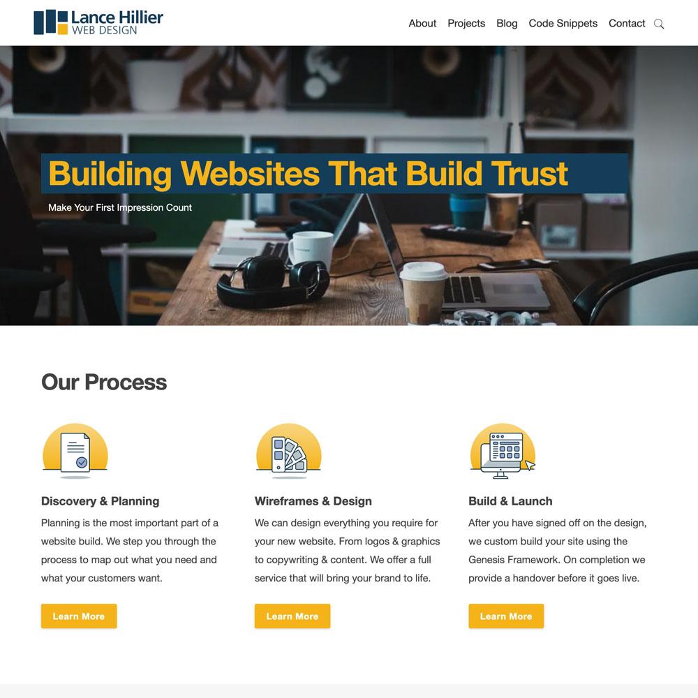 Snapshot of Lance Hiller Web Design website, work by Inkt Creative, Bendigo