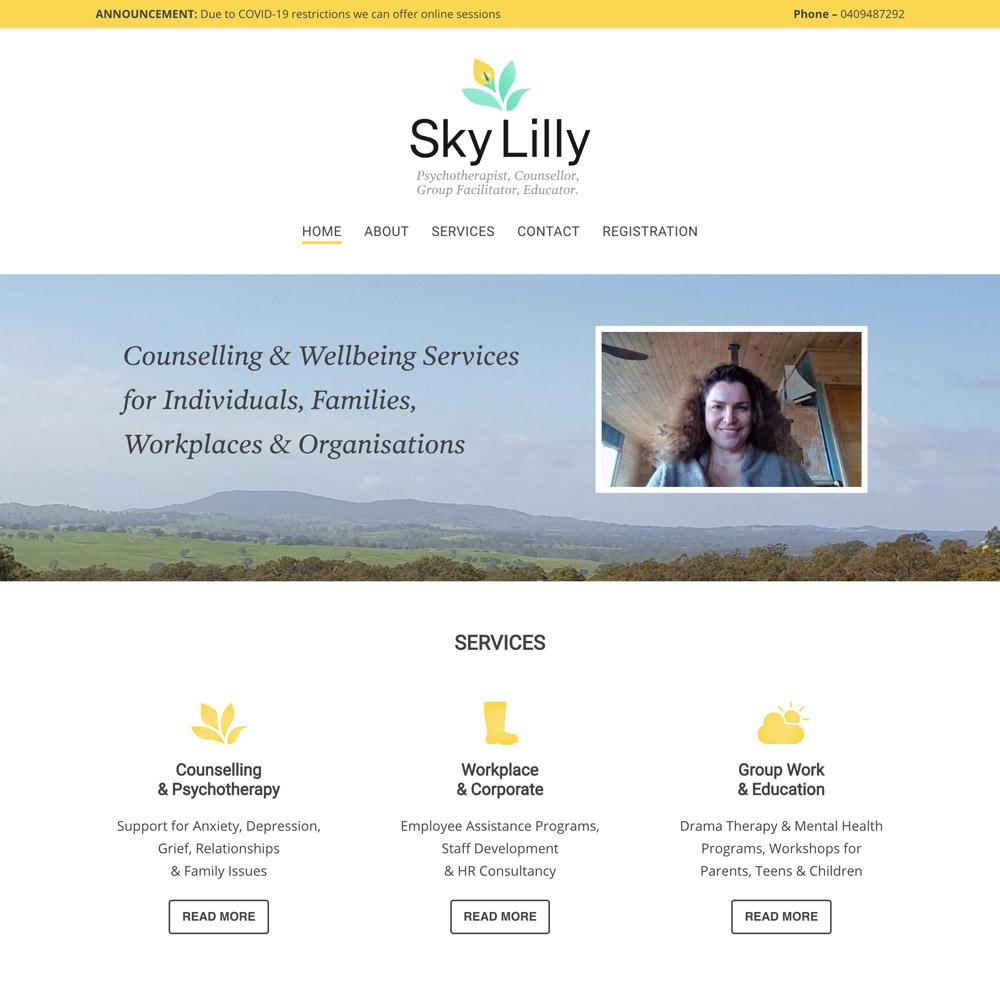 Snapshot of Sky Lilly website, design and content work by Inkt Creative, Bendigo
