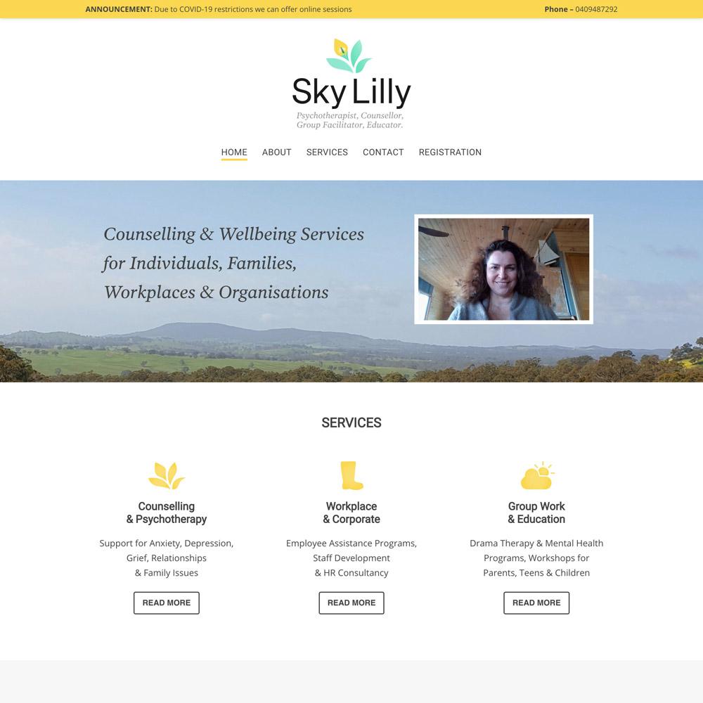 Image of Sky Lilly website design by Inkt Creative Bendigo